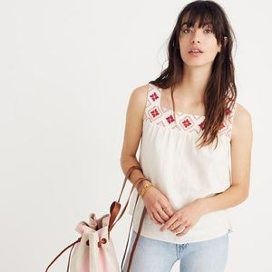 Madewell Embroidered Island Tank Top XS